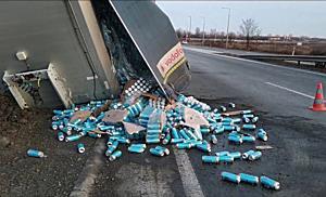Leakadt a pótkocsi, kifolyt a sör a 37 es főúton – boon.hu